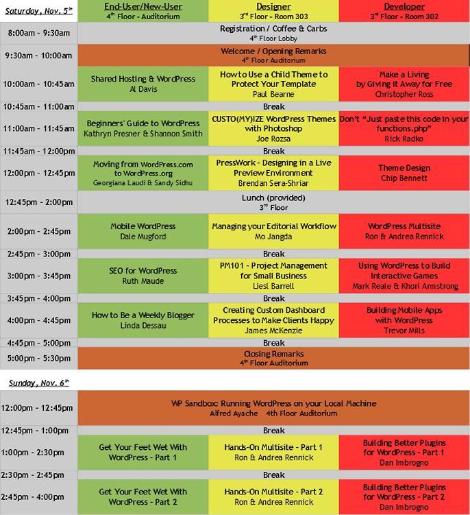 Schedule WordCamp Toronto 2011