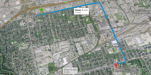 Stay Inn Driving Map to Humber College